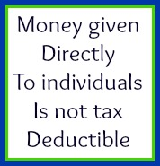 Money given to individuals is not tax deductible