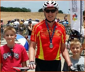 End of race with the grandkids.